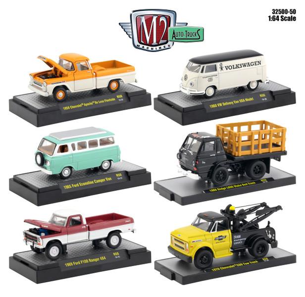 Auto Thentics 6 Piece Set Release 50 DISPLAY CASES 1/64 Diecast Model Cars M2 Machines 32500-50