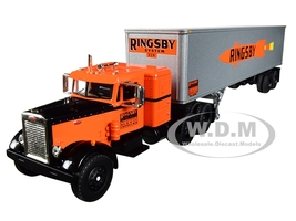 Peterbilt 351 36' Sleeper Cab 40' Vintage Trailer Ringsby System 18th Fallen Flags Series 1/64 Diecast Model First Gear 60-0413