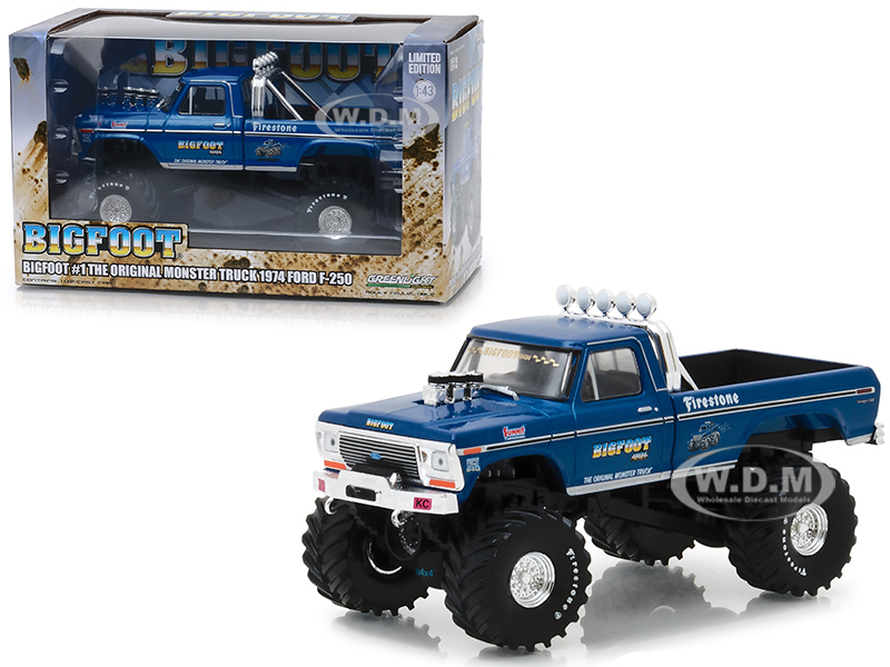 1974 Ford F-250 Monster Truck Bigfoot #1 The Original Monster Truck Blue 1/43 Diecast Model Car Greenlight 86097