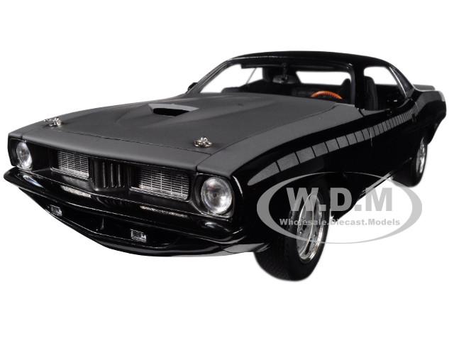 Letty's Custom Plymouth Barracuda Matt Black Fast Furious Fast 7 2015 Movie 1/18 Diecast Model Car Highway 61 18005