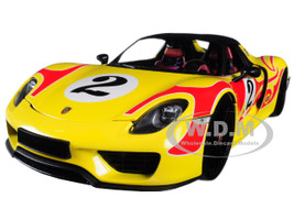 2015 Porsche Spyder 918 #2 Weissach Package Yellow Red Flames Martini Limited Edition 300 pieces Worldwide 1/18 Diecast Model Car Minichamps 110062446