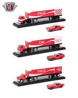 Auto Haulers Coca-Cola Release 3 Trucks Cars Set 1/64 Diecast Models M2 Machines 56000-70S01