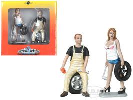 Meg Derek Tire Brigade 2 piece Figurine Set 1/18 Motorhead Miniatures 770