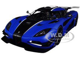 Koenigsegg One:1 Matt Imperial Blue Carbon Black Stripes White Accents 1/18 Model Car Autoart 79018
