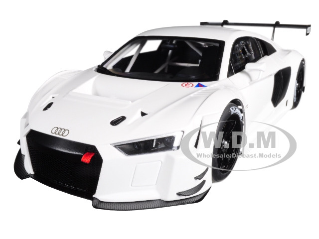 Audi R8 FIA GT GT3 Plain Color Version White Black Wheels 1/18 Model Car Autoart 81602