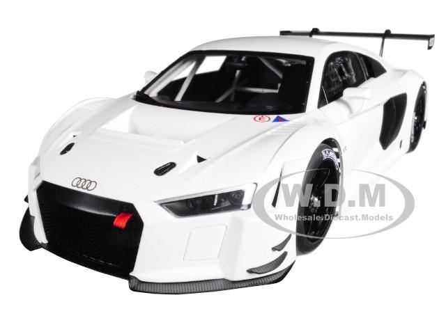 Audi R8 FIA GT GT3 Plain Color Version White Black Wheels 1/18 Model Car Autoart 81602