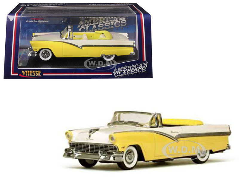 1956 Ford Fairlane Open Convertible Goldenglow Yellow Colonial White 1/43 Diecast Model Car Vitesse 36278