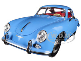 1957 Porsche 356A 1500 GS Carrera GT Coupe Aquamarine Blue Red Interior 1/18 Diecast Model Car Sunstar 1342