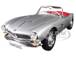 1956 BMW 507 Silver Metallic Red Interior 1/18 Diecast Model Car Norev 183230