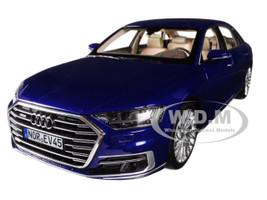 2017 Audi A8 L Blue Metallic 1/18 Diecast Model Car Norev 188365