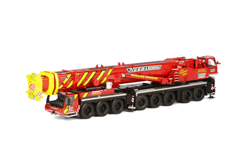 Liebherr LTM 1500-8.1 Neeb Schuch Mobile Crane Red Yellow 1/50 Diecast Model WSI Models 01-1626