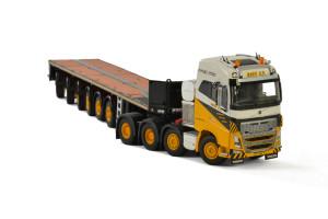 Volvo FH16 750 Globetrotter Truck 8x4 Boer BV 6 Axle Ballast Trailer 1/50 Diecast Model WSI Models 01-2239