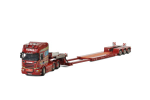 Scania Streamline Topline 6x4 Low Loader Royal Transport 3 Axle Trailer Red 1/50 Diecast Model WSI Models 01-2334