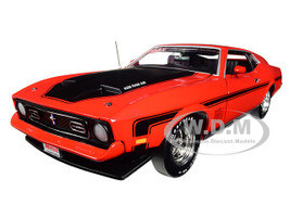1971 Ford Mustang Mach 1 Bright Red Black Stripes Hemmings Muscle Machines Magazine Limited Edition 1002 pieces Worldwide 1/18 Diecast Model Car Autoworld AMM1150