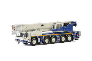 Tadano ATF 220G-5 Euro 3 Mobile Crane White Blue 1/50 Diecast Model WSI Models 54-2001