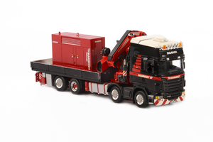 Scania R480 8x2 Mammoet Truck Black Fassi Crane Red Generator 1/50 Diecast Model WSI Models 410201