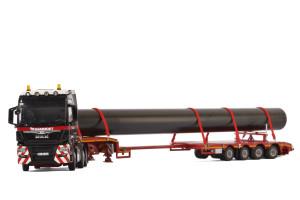 MAN TGX XXL 6x2 Twin Steer Mammoet Truck 4 Axle Low Loader Trailer Pipe 1/50 Diecast Model WSI Models 410211