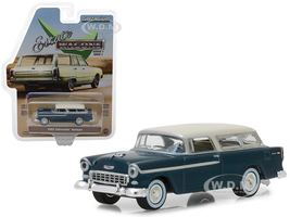 1955 Chevrolet Nomad Glacier Blue Cream Top Estate Wagons Series 1 1/64 Diecast Model Car Greenlight 29910 A