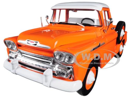 1958 Chevrolet Apache Stepside Pickup Truck Orange White Top Limited Edition 5880 pieces Worldwide 1/24 Diecast Model Car M2 Machines 40300-64 A