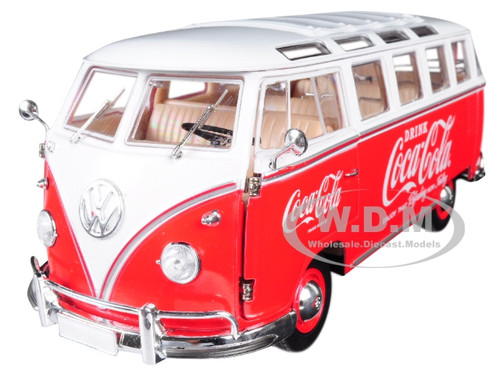 1960 Volkswagen Microbus Deluxe USA Model Coca-Cola Red White Top Limited Edition 9600 pieces Worldwide 1/24 Diecast Model M2 Machines 50300-RW02