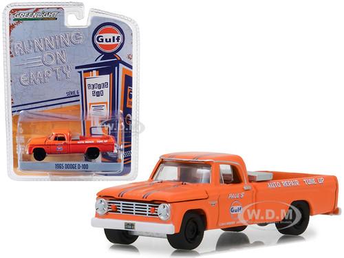 1965 Dodge D-100 Pickup Truck Gulf Auto Repair Tune Up Orange Running on Empty Series 6 1/64 Diecast Model Car Greenlight 41060 B