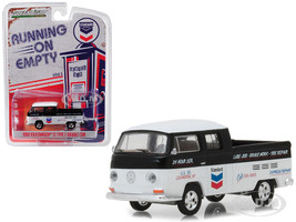 1968 Volkswagen T2 Type 2 Double Cab Standard Oil Change Service Black White Running on Empty Series 6 1/64 Diecast Model Car Greenlight 41060 C