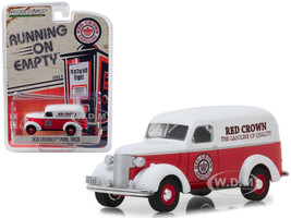 1939 Chevrolet Panel Truck Red Crown Gasoline Red White Top Running on Empty Series 6 1/64 Diecast Model Car Greenlight 41060 E