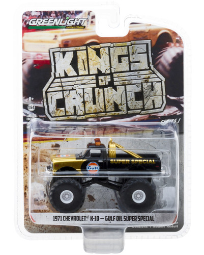 1971 Chevrolet K-10 Gulf Oil Super Special Monster Truck Gold Black Kings of Crunch Series 1/64 Diecast Model Car Greenlight 49010 D