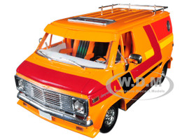 1976 Chevrolet G10 G-Series Van Orange Custom Graphics 1/18 Diecast Model Car Highway 61 18012