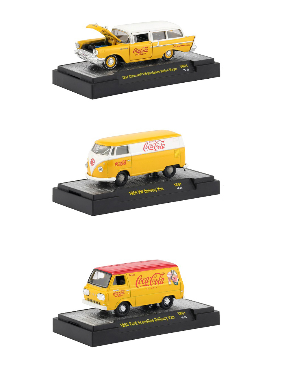 1//64 Complete Set Of 3 Yellow Vehicles M2 Machines Coca Cola Release YR02