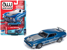 1972 Ford Mustang Mach 1 Medium Blue Poly Silver Stripes Limited Edition 3984 pieces Worldwide 1/64 Diecast Model Car Autoworld AWSP016 A