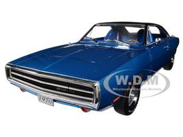 1970 Dodge Charger 500 Blue Black Top 1/18 Diecast Model Car Greenlight 13530