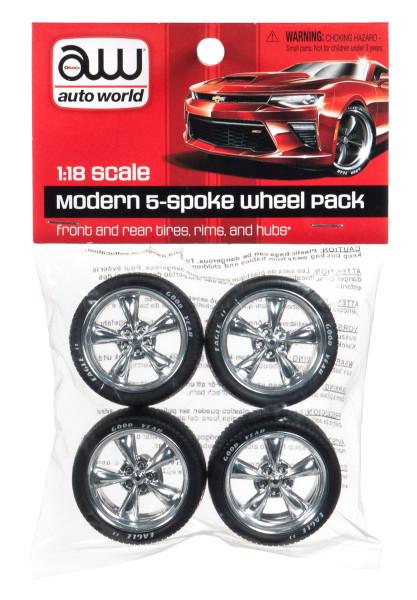Modern 5 Spoke Wheel Pack 4 pieces 1/18 Autoworld AWPP003