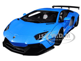 Lamborghini Aventador LB-Works Metallic Sky Blue Black Wheels 1/18 Model Car Autoart 79107