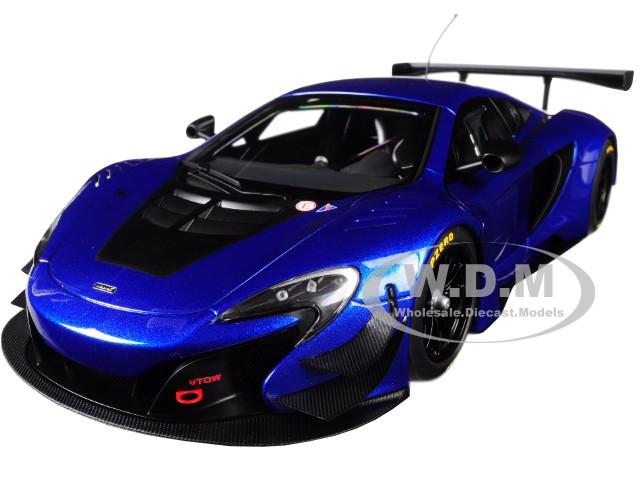 McLaren 650S GT3 Azure Blue Black Accents 1/18 Model Car Autoart 81641