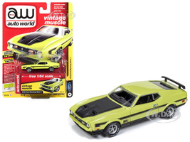 1972 Ford Mustang Mach 1 Lime Green Black Stripes Vintage Muscle Limited Edition 3960 pieces Worldwide 1/64 Diecast Model Car Autoworld AWSP016 B
