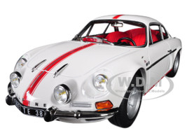 1971 Renault Alpine A110 1600S White Red Stripes 1/18 Diecast Model Car Norev 185303