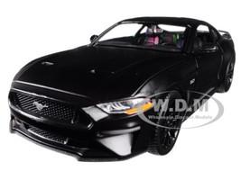 2018 Ford Mustang GT 5.0 Matt Black Black Wheels 1/24 Diecast Model Car Motormax 79352