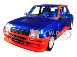 Renault 5 Turbo Metallic Blue Red Accents 1/24 Diecast Model Car Bburago 21088