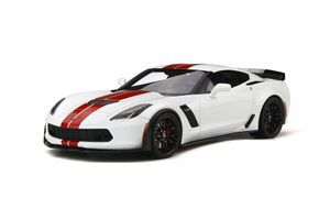 2017 Chevrolet Corvette C7 Z06 Arctic White Red Stripes Limited Edition 999 pieces Worldwide 1/18 Model Car GT Spirit GT214