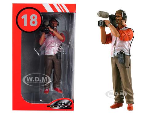 Thierry Cameraman Video Camera Headphones Figurine 1/18 Model Lemans Miniatures 118031