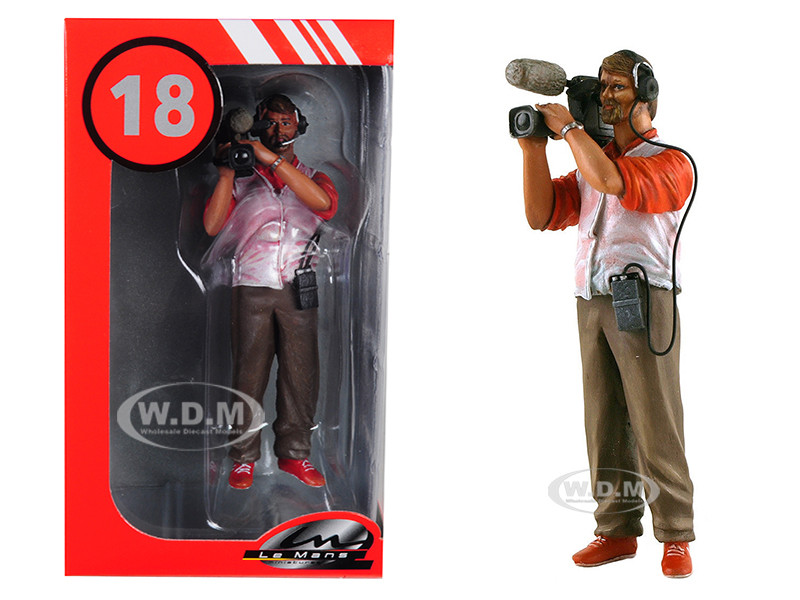 Thierry Cameraman Video Camera Headphones Figurine 1/18 Model Lemans Miniatures 118031