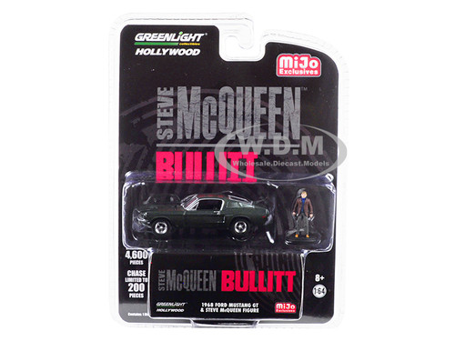 1968 Ford Mustang GT Green Steve McQueen Figurine Bullitt 1968 Movie Limited Edition 4600 pieces Worldwide 1/64 Diecast Model Car Greenlight 51207