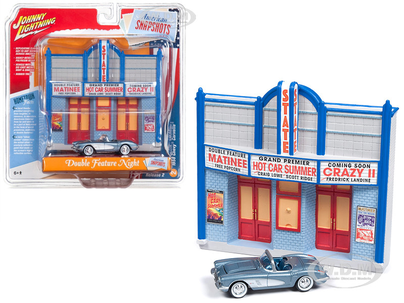 1958 Chevrolet Corvette Convertible Blue Resin Movie Theater Facade Double Feature Night 1/64 Diecast Model Johnny Lightning JLDR003