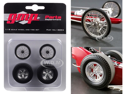 Wheels Tires Set 4 pieces Tommy Ivo's Barnstormer Vintage Dragster 1/18 Model GMP 18892