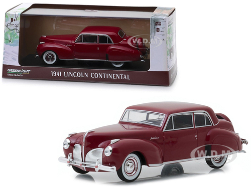 1941 Lincoln Continental Mayfair Maroon 1/43 Diecast Model Car Greenlight 86324