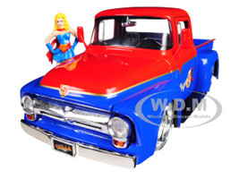 1956 Ford F-100 Pickup Truck Red Blue Supergirl Diecast Figure DC Comics Bombshells Series 1/24 Diecast Model Car Jada 30454