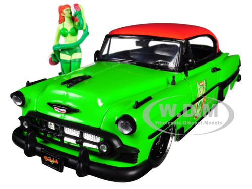 1953 Chevrolet Bel Air Green Red Top Poison Ivy Diecast Figure DC Comics Bombshells Series 1/24 Diecast Model Car Jada 30455