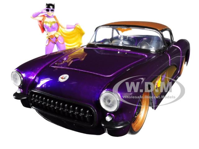1957 Chevrolet Corvette Purple Batgirl Diecast Figure DC Comics Bombshells Series 1/24 Diecast Model Car Jada 30457