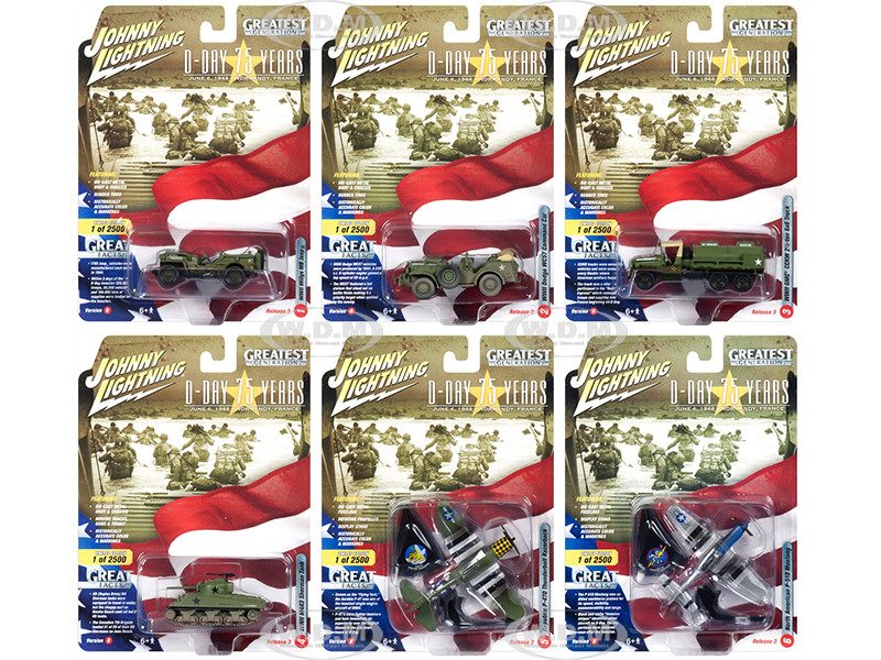 The Greatest Generation D-Day 75 Years Military Release 3 Set B 6 Limited Edition 2500 pieces Worldwide 1/64 1/87 1/100 1/144 Diecast Models Johnny Lightning JLML003 B